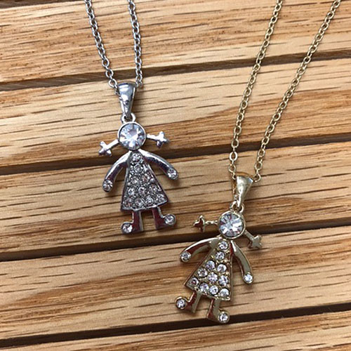 Crystal Girl Charm Necklace