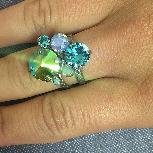 Sorrelli Teal AB Multi Crystal Ring