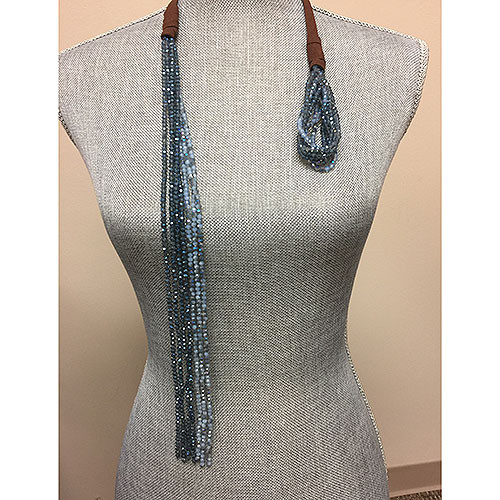 Denim Blue Crystal Bead Lariat Necklace