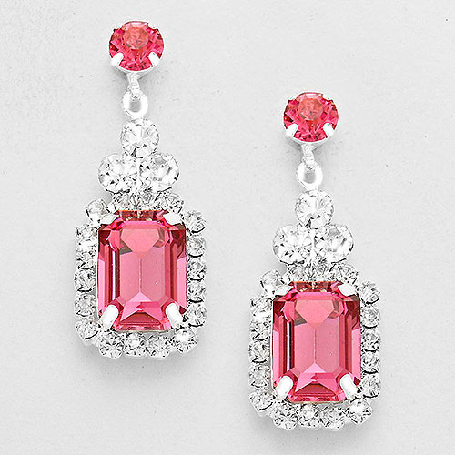 Emerald Cut Rose Pink Crystal Drop Earring