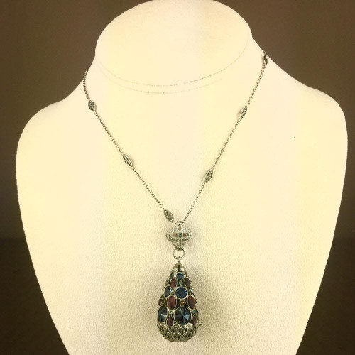 Sorrelli's Long Blue Brocade Crystal Teardrop