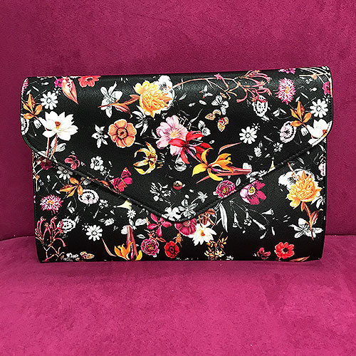 Large Floral Envelope Clutch in Black