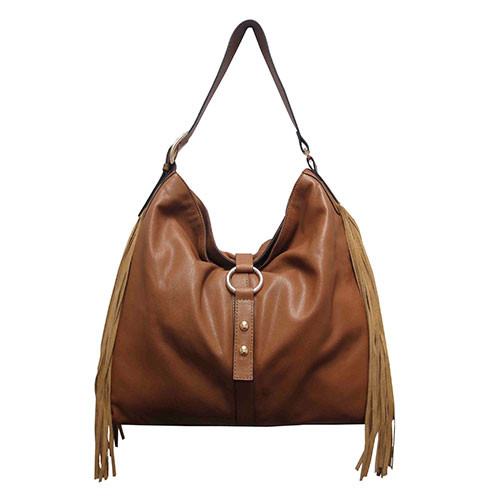 Gorgeous Saddle Leather Hobo with Suede Fringe