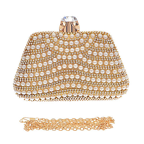 Pearl Encrusted Champagne Clutch