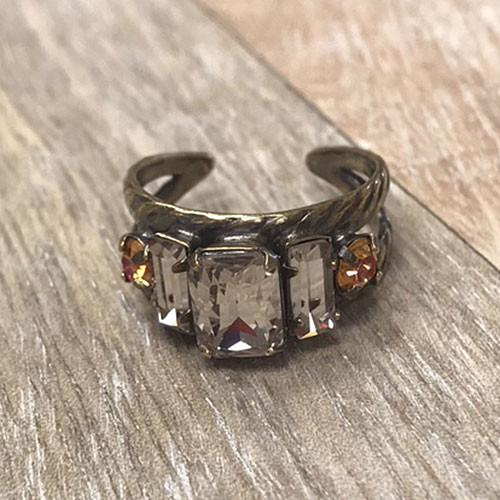 Sorrelli Clear and Apricot Crystal Band Ring