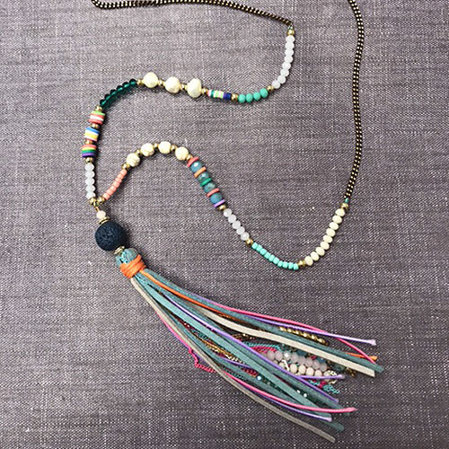 ZOKY's Colorful Beads & Tassel Necklace