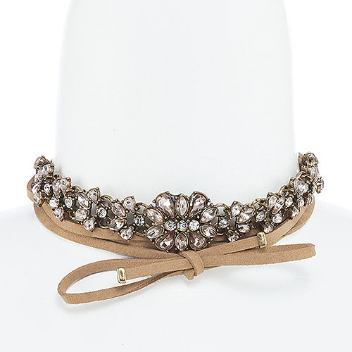 Blush Crystal & Antiqued Gold Choker