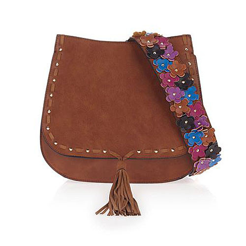 Steve Madden Brown Saddle Bag with Boho Flower Guitar Strap