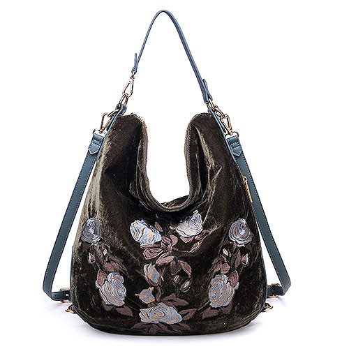 Floral Embroidered Velvet Shoulder/CrossBody Olive