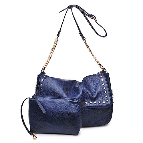 Soft Studded Fold-Over in Navy