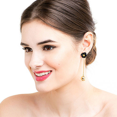 Dahlia Bud Hanging Ball Earring