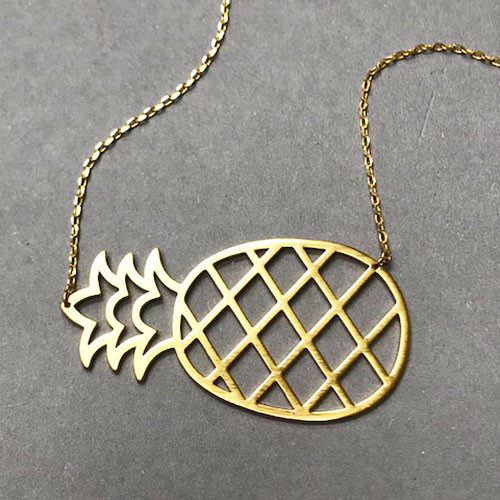Large Sideways Gold Pineapple Necklace