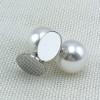 Pearl Back Monogram Earrings Silver