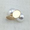 Pearl Back Monogram Earrings Gold