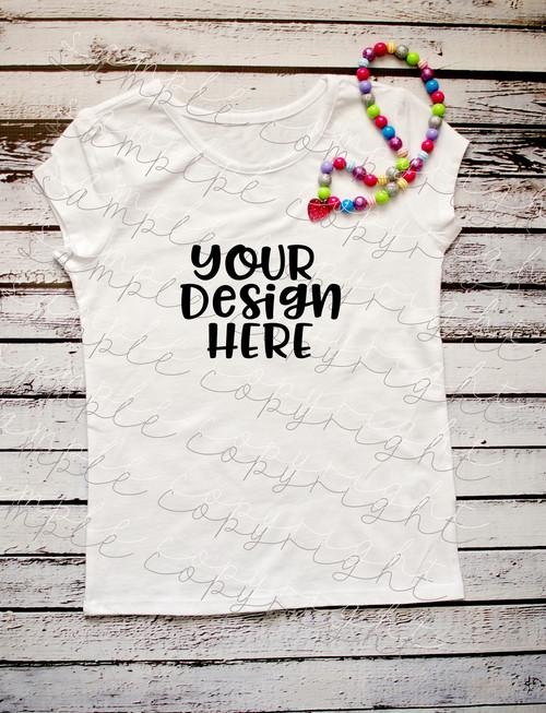 Plain White Short Sleeve Girls With Necklace T Shirt Mock-Up