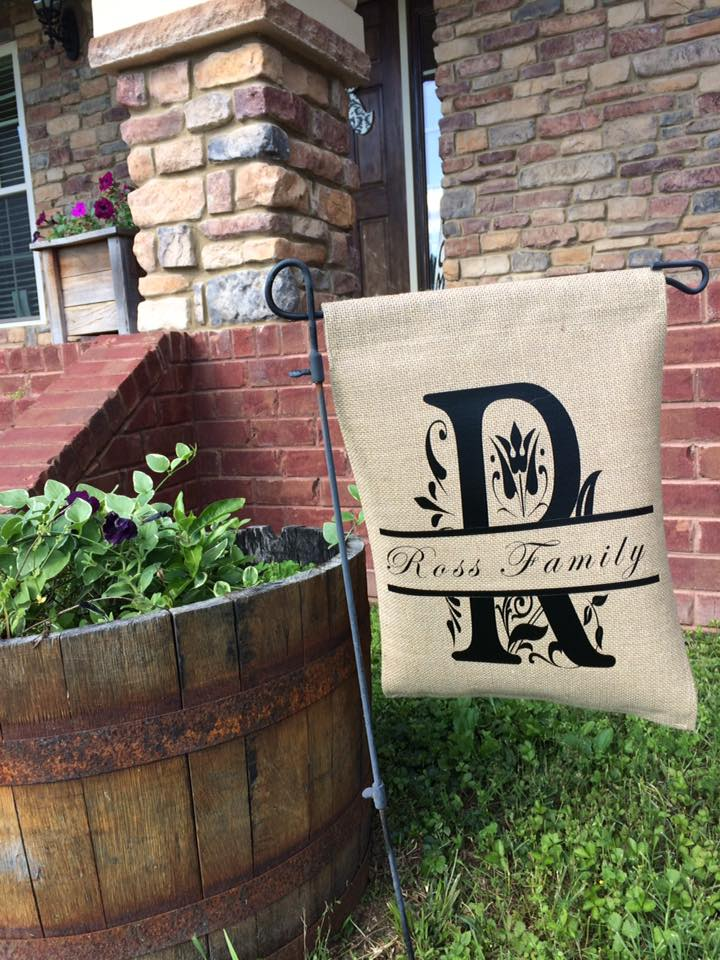 Blank Burlap Garden Flag; Add A Name Or Saying In Our Heat Transfer Vinyls  For A Unique Gift.