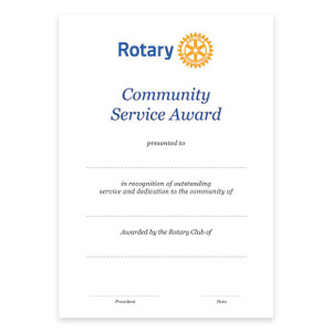 Rotary Community Service Certificate