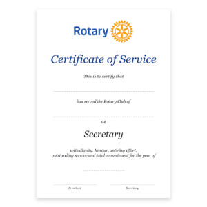 Rotary Past Secretary Certificate
