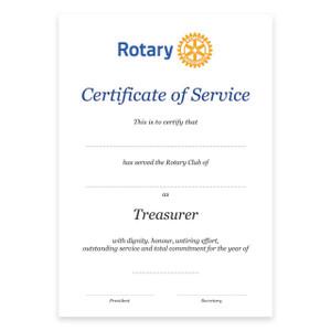 Rotary Past Treasurer Certificate