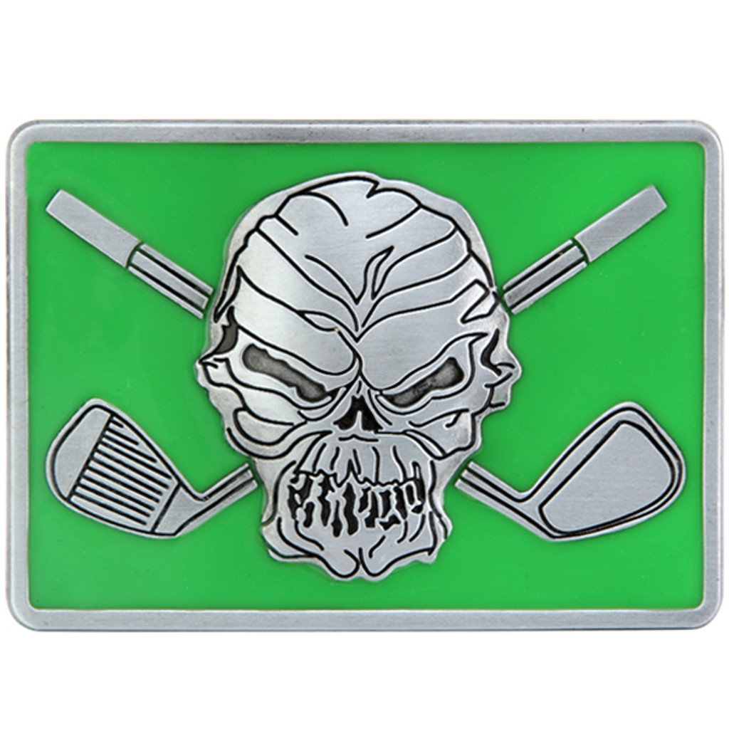 """Skull and crossing clubs belt buckle.  Size 3-1/8"""" wide x 2-1/4"""" high and designed to fit belts up to 1 1/2 in width, Will fit on any belt with snaps.  The perfect accessory to our Lucky 13 Performance Polo shirt!"""