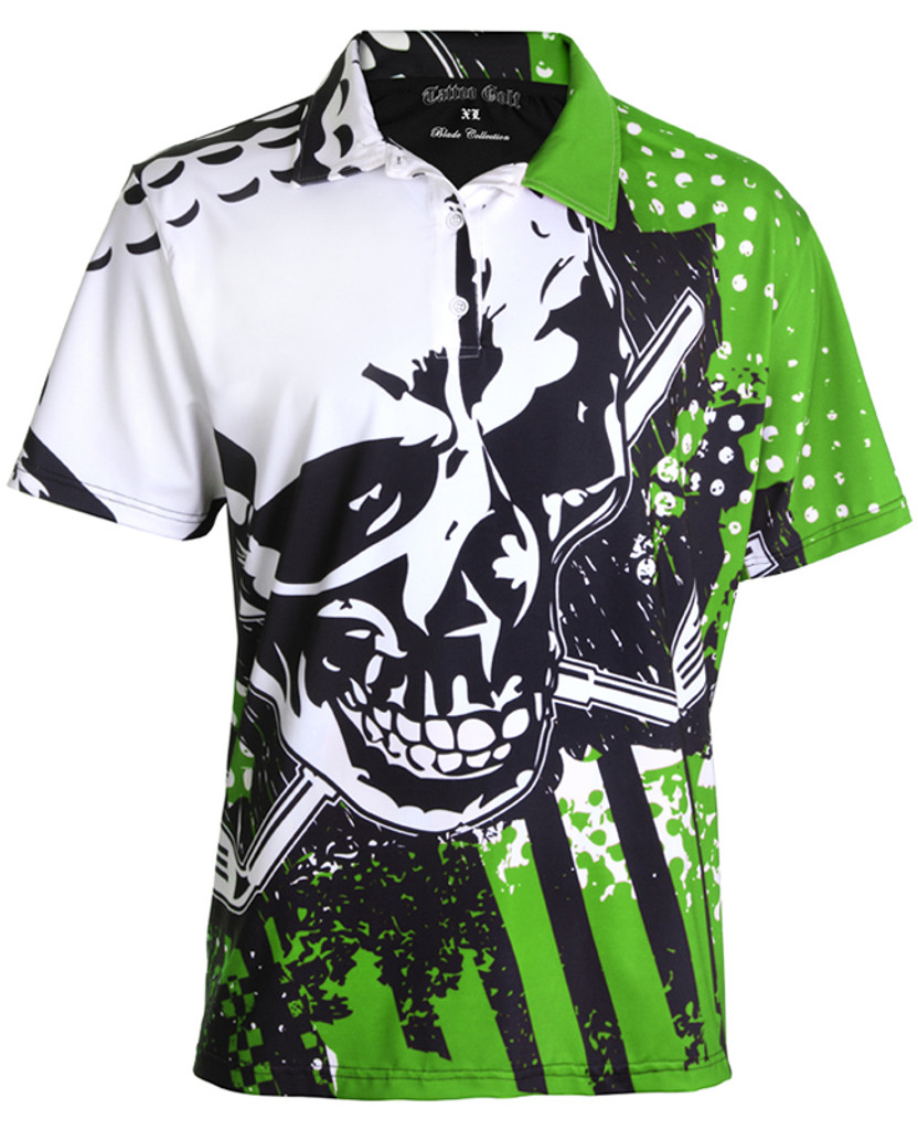 Blade performance men's golf shirt.  The sleek micro-mesh fabric offers superior moisture control.  Our craziest golf shirt ever!  Outfit your entire team in these bad boys!