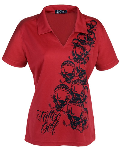 Ladies OB V-Neck Golf Shirts (Red)