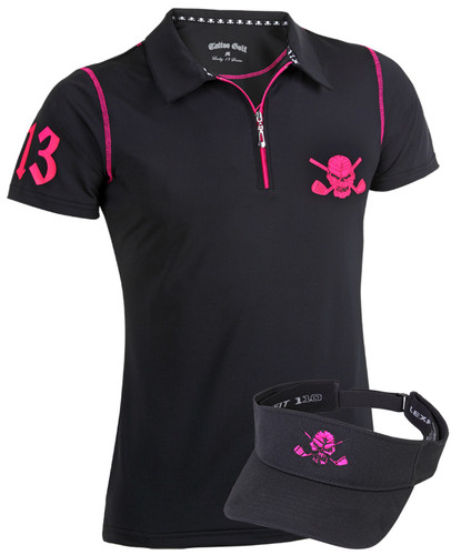 Women's high performance golf shirt with superior moisture control.  Match that up with an adjustable Flexfit golf visor and you have one sweet golf outfit!