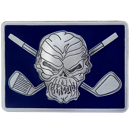 "Skull and crossing clubs belt buckle.  Size 3-1/8"" wide x 2-1/4"" high and designed to fit belts up to 1 1/2 in width, Will fit on any belt with snaps.  Pair this up with a Blue Monster or Mr. Bones Performance Polo shirt!"