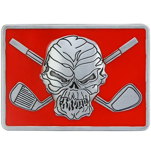 "Skull and crossing clubs belt buckle.  Size 3-1/8"" wide x 2-1/4"" high and designed to fit belts up to 1 1/2 in width, Will fit on any belt with snaps.  Pair this up with a Lucky 13 red print Performance Polo shirt!"