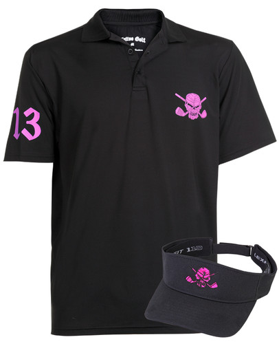Lucky 13 Polo & Golf Visor (Black/Pink)