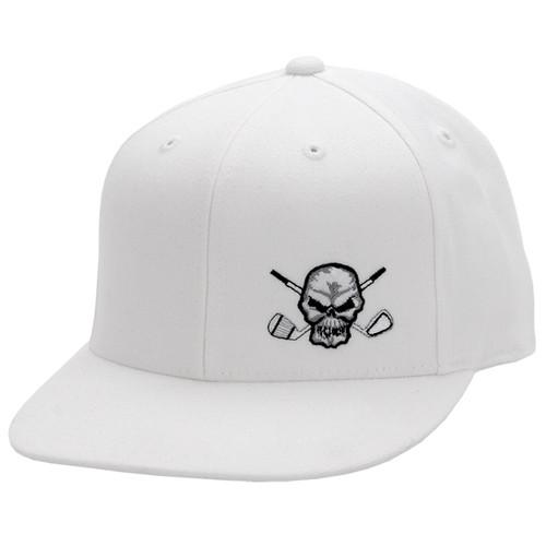 110 Snap Back Flat Brim Golf Hat (White)