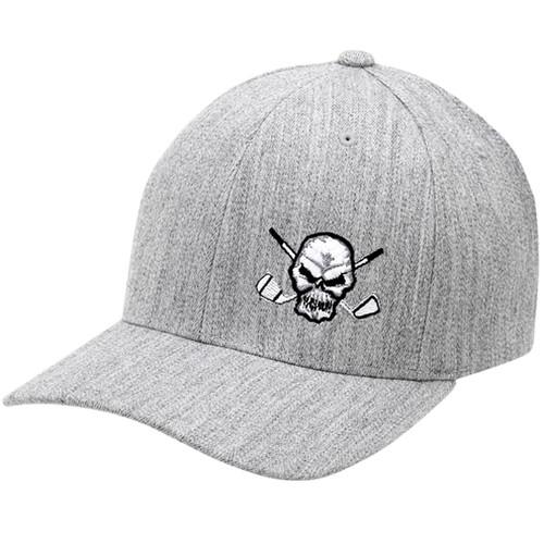 Tattoo Golf Hat Skull Design (Heather Grey)