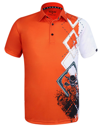 The new Player golf polo, combining a classic argyle design, some wild graphics, and our ProCool fabric technology to make this men's golf shirt a go-to winner!   Available in sizes small through 4XL and in colors blue, black, and orange.