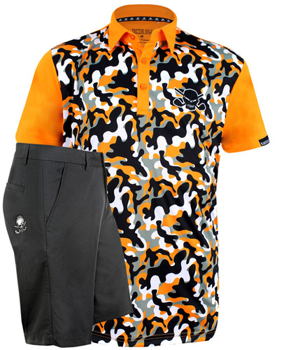 Orange camo men's performance golf shirt and OB skull black golf shorts.  ProCool fabric technology on both helps keep you cool and dry all day long.