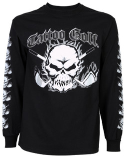 Long Sleeve Skull Golf T-Shirt (Black)