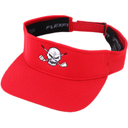 Golf Visor w/ Skull Design (Red)