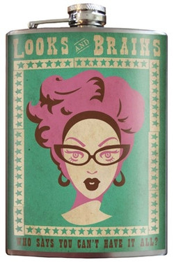 Looks & Brains flask is slim enough to fit in your hip pocket, purse or golf bag.  The perfect bachelorette party gift, bridesmaids gift, birthday, anniversary, or just because gift!