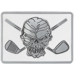 "White Skull and crossing clubs belt buckle.  Size 3-1/8"" wide x 2-1/4"" high and designed to fit belts up to 1 1/2 in width, Will fit on any belt with snaps.  Pair this with a Tattoo Golf leather belt to make an awesome golf outfit."