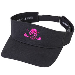New eye-popping pink embroidered skull design on this hot Flexfit adjustable visor.
