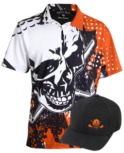 Men's high performance golf polo shirt with giant sublimation print for a super-soft feel.  Match that up with an adjustable Flexfit hat with embroidered skull and you have one sweet golf outfit!