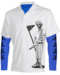 Mr. Bones men's golf shirt combined with the royal blue performance undershirt and you've got one sweet golf outfit!