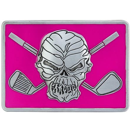"""Skull and crossing clubs belt buckle.  Size 3-1/8"""" wide x 2-1/4"""" high and designed to fit belts up to 1 1/2 in width, Will fit on any belt with snaps.  Pair this up with a women's Lucky 13 pink print Performance Polo shirt or the men's GT pocket polo!"""