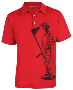 Meet Mr. Bones!   This performance men's golf shirt offers superior moisture control to keep you cool all day long.  Also available in royal blue and white.  Hey Couples, we also have Mrs. Bones for the ladies so suit up in style for your next golf event!