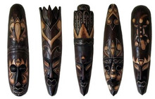 "20"" African Style Wood Mask - Set of 5"