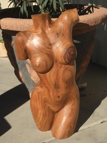 "28"" hand carved womens torso"