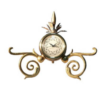 6.75H x 9.5W x 6D Small and unique time piece Made of brass and iron Quartz / N battery not included