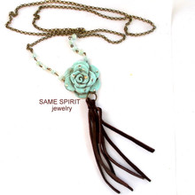 COMPLETE NECKLACE - CABBAGE ROSE (muted turquoise)