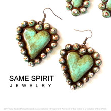 EARRINGS - HEARTS (turquoise stone)