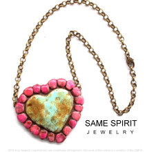 CHOKER - SUNSET HEART (distressed turquoise surrounded in Blushing Canyon Pink)