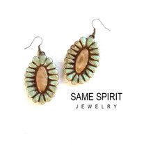 SALE - earrings RIVERWALK medallions in turquoise and camel